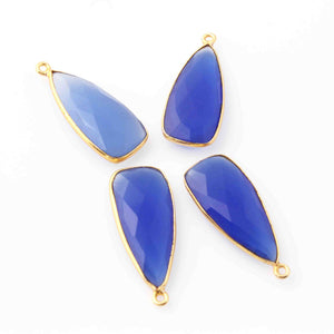 4 Pcs Blue Chalcedony Faceted Dagger Shape 24k Gold Plated Pendant  , Blue Topaz Pendant 30mmx13mm  PC070 - Tucson Beads