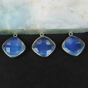 10 Pcs Beautiful Ice Quartz Cushion Shape 925 Sterling Silver Gemstone Faceted Pendant - 20mmx16mm SS470 - Tucson Beads