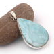 1 Pc Genuine and Rare Larimar Pear Pendant - 925 Sterling Silver - Gemstone Pendant - 50mmx31mm-9mmx4mm - SJ096 - Tucson Beads