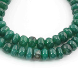 1 Strand Green Onyx Smooth Rondelles - Green Onyx Roundel Beads 8mm-13mm 19 Inches BR1520 - Tucson Beads