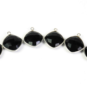 15 Pcs Beautiful Black Onyx Cushion Shape Pendant 925 Sterling Silver Gemstone Faceted Signal Bail Pendant - 20mmx16mm SS461 - Tucson Beads