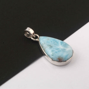 1 Pc Genuine and Rare Larimar Pear Pendant - 925 Sterling Silver - Gemstone Pendant  - 31mmx16mm- SJ012 - Tucson Beads