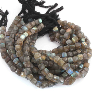 1 Strand Labradorite Faceted Cube Briolettes- Labradorite Box Shape  6mm-9mm 10 Inches BR3147 - Tucson Beads