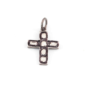 1 Pc Rosecut Diamond Cross 925 Sterling Silver Charm- Polki Cross Diamond Charm Pendant-Size: 22mmx16mm  PDC1426 - Tucson Beads