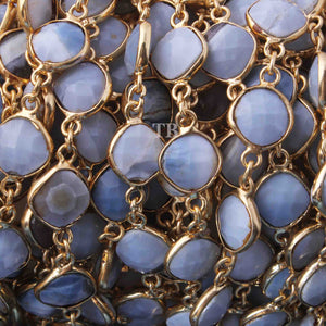 1 Feet Boulder opal Cushion Shape 24k Gold Plated Bezel Continuous Connector Beaded Chain 9mmx6mm SC232 - Tucson Beads