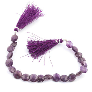 1 Long Strand Amethyst Coin Briolettes-  Faceted Briolettes 9mm-11mm 8 Inch BR1403 - Tucson Beads