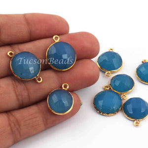8  Pcs Blue Chalcedony Faceted Round Shape 24k Gold Plated Pendant&Connector  - 21mmx14mm-16mmx13mm-PC684 - Tucson Beads