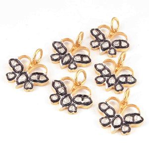 1 Pc Rosecut Diamond Butterfly 925 Sterling Vermeil  Charm -Polki Butterfly Diamond Charm Pendant-Size: 16mmx19mm  PDC1423 - Tucson Beads