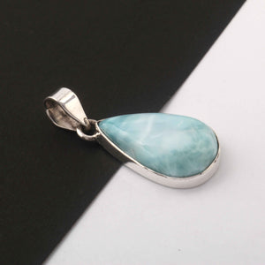 1 Pc Genuine and Rare Larimar Pear Pendant - 925 Sterling Silver - Gemstone Pendant- 29mmx15mm  SJ065 - Tucson Beads