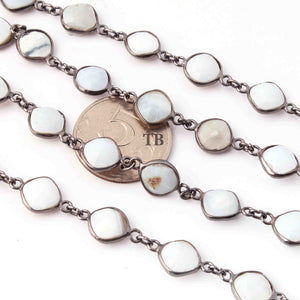 1 Feet Boulder Opal  Oxidized Silver plated Cushion Shape  Bezel Continuous Connector Beaded Chain 16mmx10mm SC237 - Tucson Beads