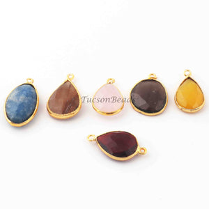 6  Pcs Mix Stone Faceted Assorted Shape 24k Gold Plated Pendant&Connectorl - 25mmx14mm-12mmx21mm-PC682 - Tucson Beads
