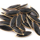 5 Pcs Black Onyx Faceted Marquise Shape 24k Gold Plated Pendant  , Black Onyx  Pendant 39mmx13mm PC076 - Tucson Beads