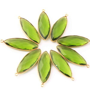 10 Pcs Peridot Faceted Marquise Shape 24k Gold Plated Pendant  ,Peridot Pendant 39mmx13mm  PC073 - Tucson Beads