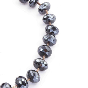 1 Strand Labradorite Silver Coated Faceted Roundelles -  Labradorite Rondelles Beads 8mm 7 Inches BR3918 - Tucson Beads