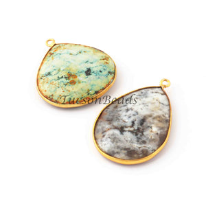 2  Pcs Mix Stone Faceted Assorted Shape 24k Gold Plated Pendan- 31mmx27mm-PC688 - Tucson Beads