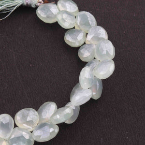 1 Strand  Aqua Chalcedony Faceted Heart Shape Beads Briolettes 10mm-14mm 8 Inches BR3409 - Tucson Beads