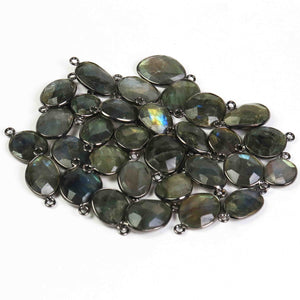 32 Pcs Beautiful Labradorite Blue Flesh Oxidized Plated  Faceted Assorted Shape Connector & Pendant- 22mmx12mm-18mmx10mm PC636 - Tucson Beads