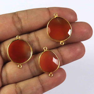 8  Pcs Sun Stone 24k Gold Plated Faceted Assorted Shape Connector Double Bali - 31mmx21mm PC446 - Tucson Beads