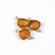 3  Pcs Sun Stone  24k Gold Plated Faceted Heart Shape Connector Double Bali - 19mmx13mm PC450 - Tucson Beads