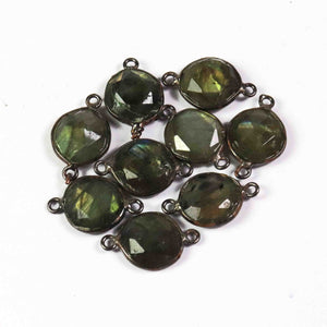 7 Pcs Labradorite Oxidized Sterling Silver Plated Faceted Oval Shape Connector Double Bali - 19mmx12mm PC455 - Tucson Beads