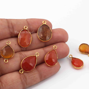 8  Pcs Mix Stone Faceted Assorted Shape 24k Gold Plated Pendant- 20mmx12mm-15mmx16mm-PC730 - Tucson Beads