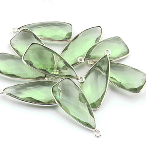 5 Pcs Green Amethyst  Faceted Dagger Shape 925 Silver Plated Pendant 32mmx13mm  PC230 - Tucson Beads