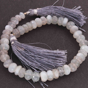 1 Strand Gray Silverite Faceted Roundels - Gray Silverite Roundels Beads 8mm- 9 Inches BR3406 - Tucson Beads
