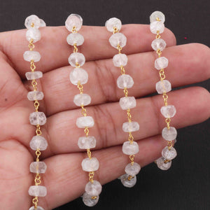 1 Feet Moonstone  Beads Rosary Style Beaded Chain - Moonstone Beads Wire Wrapped 925 Sterling Vermeil  -4mm-6mm SRC049 - Tucson Beads