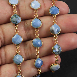 1.5 Feet  Bloder opal  Heart  Shape 24k Gold Plated Bezel Continuous Connector Beaded Chain 16mmx14mm SC222 - Tucson Beads