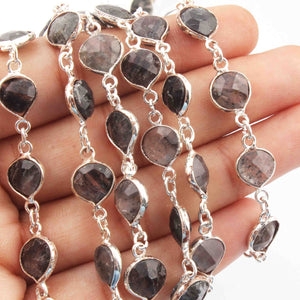 1 Feet Black Rutile Heart Shape Silver Plated Bezel Continuous Connector Beaded Chain 17mmx10mm SC233 - Tucson Beads