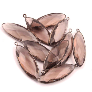 10 Pcs Smoky Quartz  Faceted Marquise Shape Oxidized Silver Plated Pendant   39mmx13mm  PC239 - Tucson Beads