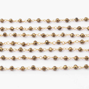 1 Feet Brass Pyrite Rondelles Rosary Style 925 Sterling Vermeil Beaded Chain -3mm SRC052 - Tucson Beads