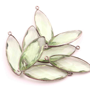8 Pcs Green Amethyst Faceted Marquise Shape Oxidized Silver Plated Pendant 39mmx13mm  PC249 - Tucson Beads