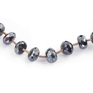 1 Strand Excellent Quality Black Spinel Silver Coated Rondelles- Roundle Beads 8mm 7.5 Inches BR3401 - Tucson Beads