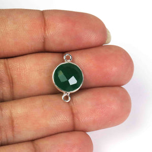 13 Pcs Green Onyx 925 Sterling Silver Round Shape Connector -17mmx11mm SS585 - Tucson Beads