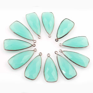 11 Pcs Aqua Chalcedony  Faceted Dagger Shape Oxidized Silver Plated Pendant   31mmx13mm  PC320 - Tucson Beads
