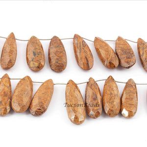 1 Strand Picture Jasper Faceted Pear Drop Beads - Jasper Pear Beads 23mmx10mm-32mmx11mm 8.5 Inch BR4193 - Tucson Beads