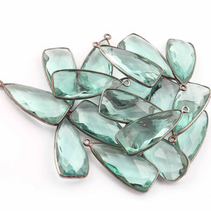 10 Pcs Apatite Faceted Dagger Shape Oxidized Silver Plated Pendant 31mmx13mm PC361 - Tucson Beads