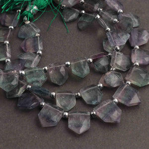 1 Strand Multi Fluorite Faceted Fancy Shape Briolettes -  Fancy Shape briolettes 10mmx9mm-14mmx11mm 8 Inchs BR2249 - Tucson Beads