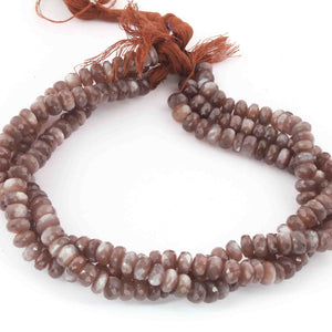 1 Long Strand Chocolate Moonstone Faceted Rondelles - Rondelle Beads 7mm-8mm 13 Inches BR1899 - Tucson Beads