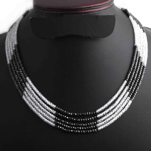 1 Long Strand  Black And White Cubic Zircon Faceted Rondelles Ready To Wear Necklace 3mm 10-14 Inch BR1119 - Tucson Beads