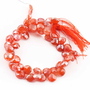 1 Long Strand Carnelian Faceted Briolettes - Heart Shape Briolettes -7mmx9mm 8 Inches BR028 - Tucson Beads