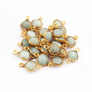 23 Pcs Amazonite Faceted Heart Shape Connector 24k Gold Plated Connector- 17mmx10mm PC373 - Tucson Beads