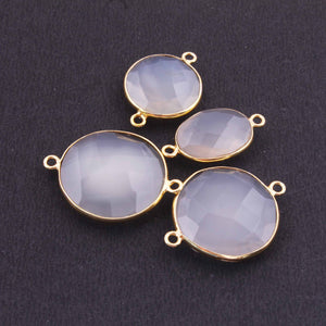 4 Pcs Grey Moonstone Faceted Assorted Shape Connector 24k Gold Plated Connector- 26mmx16mm-27mmx21mm PC375 - Tucson Beads