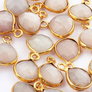 26 Pcs Grey Moonstone Faceted Heart Shape Pendant 24k Gold Plated Pendant - 14mmx10mm PC372 - Tucson Beads