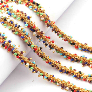 5 Feet Multi Color Pearl Beads Dangling Chain, 24k Gold Plated Wire Wrapped Chain, Gemstone Rosary Chain, 2mm  BD833 - Tucson Beads