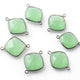 9 Pcs Green Chalcedony Oxidized Sterling Silver Faceted Cushion Shape Double Bail Connector - 22mmx16mm SS308 - Tucson Beads