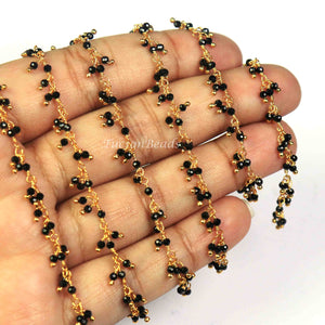 5 Feet Gold Plated Black Quartz Rosary Style Cluster Chain / Wire Wrapped Gemstone Linked Chain / Handmade Beaded Chain, 2mm  BD828 - Tucson Beads