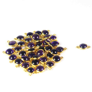 10 Pcs Amethyst 925 Sterling Vermeil Smooth Round Double Bail Connector -13mmx8mm SS634 - Tucson Beads