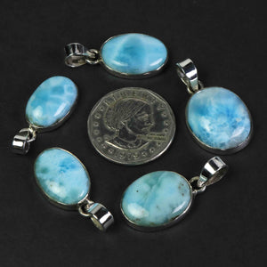 1 Pc Genuine and Rare Larimar Oval Pendant - 925 Sterling Silver - Gemstone Pendant  SJ084 - Tucson Beads